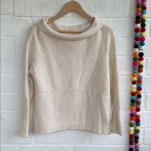 White Knit Cowlneck Cropped Sweater sz S